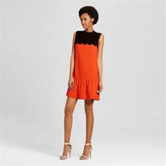 e8c5f145bdb Victoria Beckham Orange Scalloped Dress